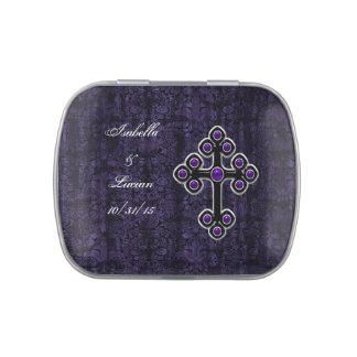 Boda gótico de la cruz púrpura oscura del damasco frascos de dulces