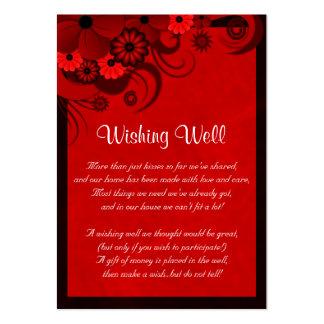 Boda gótico floral rojo oscuro que desea tarjetas tarjetas de visita grandes