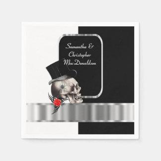 Boda gótico negro del cráneo del novio servilleta de papel