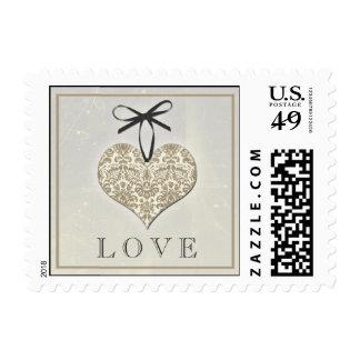 Boda gris del amor del corazón del damasco del timbre postal