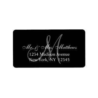 Boda gris negro elegante del monograma etiqueta de dirección