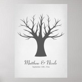 Boda gris rústico del árbol de la huella dactilar póster