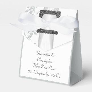 Boda gris y blanco llano del cordón del damasco caja para regalos de fiestas