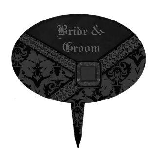 Boda gris y negro del cordón del gótico figuras de tarta