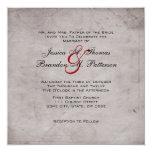 Boda gris y rojo elegante de la foto del vintage invitaciones personalizada