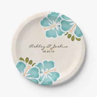 Boda hawaiano del hibisco de la piscina plato de papel de 7 pulgadas