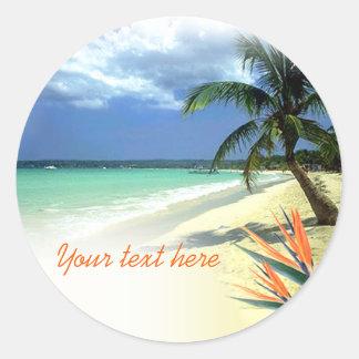 Boda hawaiano jamaicano tropical pegatina redonda