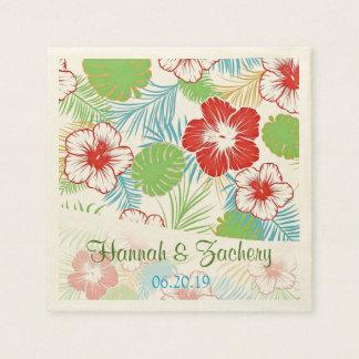 Boda hawaiano personalizado del hibisco tropical servilleta desechable