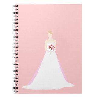 Boda hermoso de la novia libros de apuntes con espiral