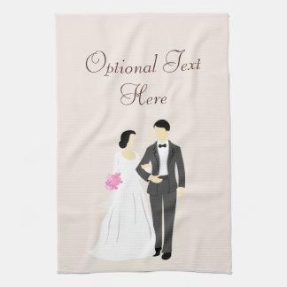 Boda hermoso de la novia y del novio toalla de cocina