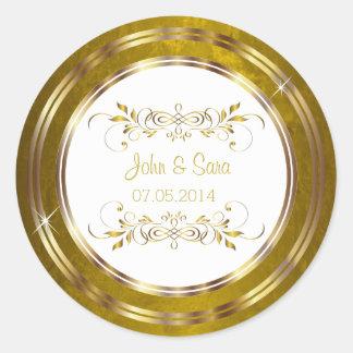 Boda hermoso del esquema de la hoja de oro pegatina redonda