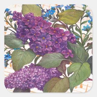 boda ilustrado del tema de la mariposa de la lila pegatina cuadrada