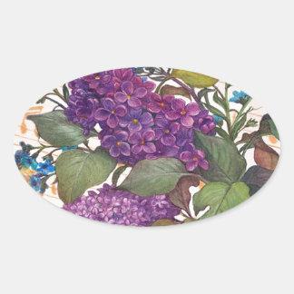 boda ilustrado del tema de la mariposa de la lila pegatina ovalada