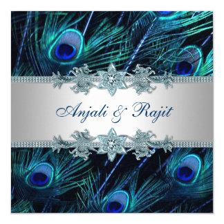 Boda indio real del pavo real de la plata del azul invitación 13,3 cm x 13,3cm