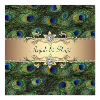 Boda indio real esmeralda del pavo real del oro invitaciones personales