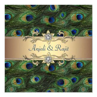 Boda indio real esmeralda del pavo real del oro invitación 13,3 cm x 13,3cm