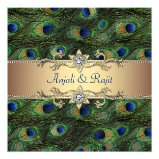 Boda indio real esmeralda del pavo real del oro ve invitaciones personales