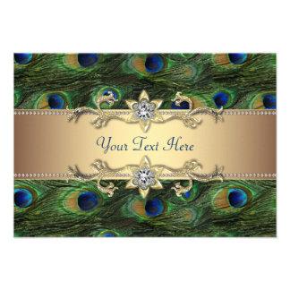 Boda indio real esmeralda del pavo real del oro ve invitaciones personalizada