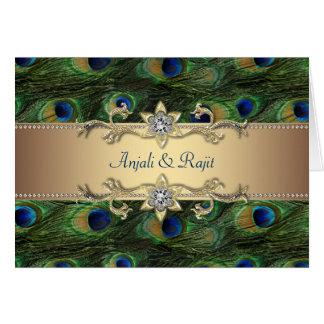 Boda indio real esmeralda del pavo real del oro ve tarjeta de felicitación