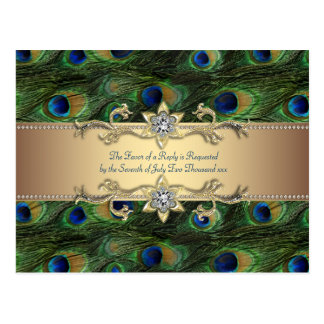 Boda indio real esmeralda del pavo real del oro ve tarjeta postal