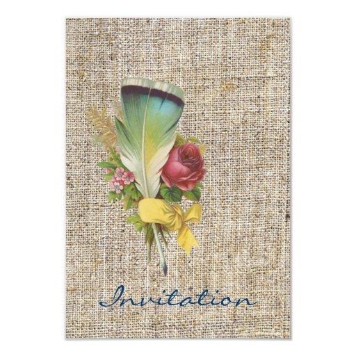 """Boda inglés floral retro del país del vintage invitación 3.5"""" x 5"""""""