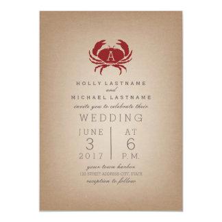 """Boda inspirado de papel de tarjetas del cangrejo invitación 5"""" x 7"""""""