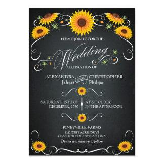 Boda intrépido del vintage floral de la pizarra invitación 12,7 x 17,8 cm