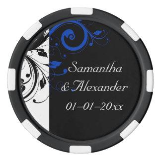 Boda intrépido negro/del blanco/del azul de fichas de póquer