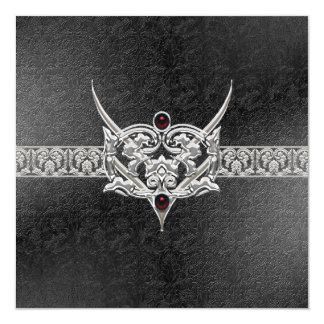 """Boda Jeweled imitación de cuero del gótico del Invitación 5.25"""" X 5.25"""""""