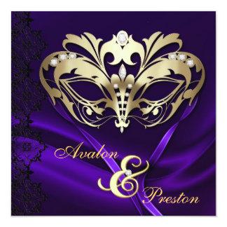 """Boda Jeweled púrpura de la mascarada del oro Invitación 5.25"""" X 5.25"""""""