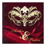Boda Jeweled rojo de la mascarada del oro Invitacion Personalizada