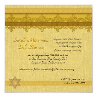Boda judío del brocado del damasco del oro invitacion personal