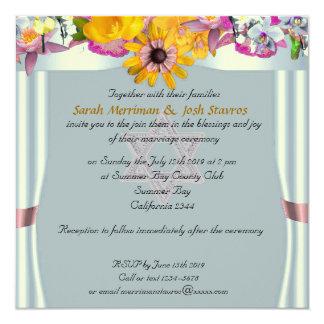 Boda judío del toldo floral invitaciones personalizada