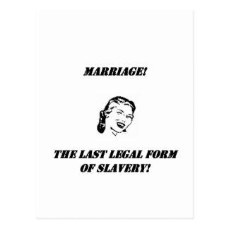¡boda la forma jurídica pasada de la esclavitud! tarjeta postal