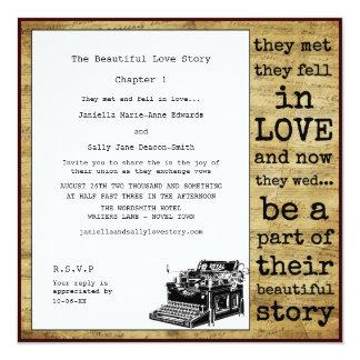 Boda lesbiano de la máquina de escribir del invitación 13,3 cm x 13,3cm