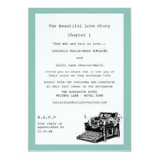 Boda lesbiano de la máquina de escribir del invitación 12,7 x 17,8 cm