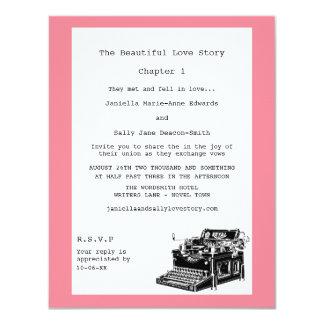 """Boda lesbiano de la máquina de escribir del invitación 4.25"""" x 5.5"""""""