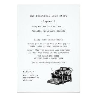 """Boda lesbiano de la máquina de escribir del invitación 5"""" x 7"""""""
