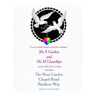 """Boda lesbiano de las palomas del amor del corazón invitación 4.25"""" x 5.5"""""""