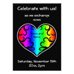 Boda lindo del corazón del arco iris del victorian invitaciones personales