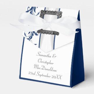Boda llano del cordón del damasco de los azules caja para regalos