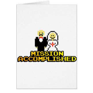 """Boda lograda """"misión"""" (de 8 bits) tarjeta de felicitación"""