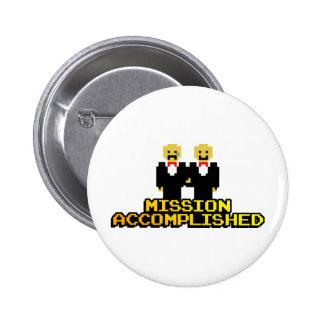 "Boda lograda ""misión"" (gay, de 8 bits) pin redondo de 2 pulgadas"