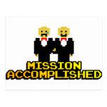"""Boda lograda """"misión"""" (gay, de 8 bits) tarjetas postales"""