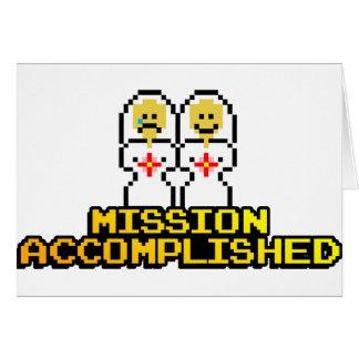 """Boda lograda """"misión"""" (lesbiana, de 8 bits) tarjeta de felicitación"""