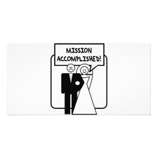 """Boda lograda """"misión"""" plantilla para tarjeta de foto"""