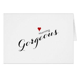 Boda magnífico rojo de la buena mañana del corazón tarjeta pequeña