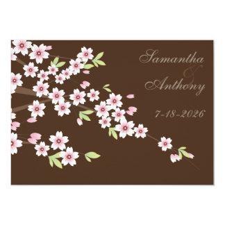 Boda marrón y de la flor de cerezo invitación 12,7 x 17,8 cm