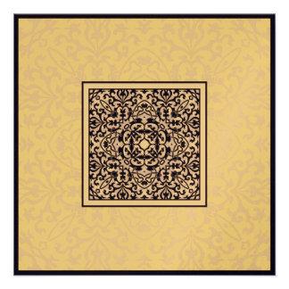 Boda metálico árabe del compromiso del ornamento d invitacion personal