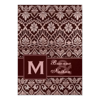 """Boda metálico superior del damasco del chocolate invitación 5"""" x 7"""""""